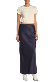 Helmut Lang Satin Colorblock Slip Maxi Skirt