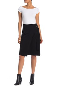 Helmut Lang Buckled Wool Blend Midi Skirt