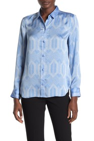 Equipment Leema Printed Button-Front Satin Blouse