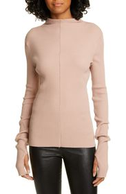 Helmut Lang Ribbed Long Sleeve Mock Neck Top
