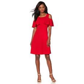 Slinky® Brand Solid Textured Dress with Ruffle Ove
