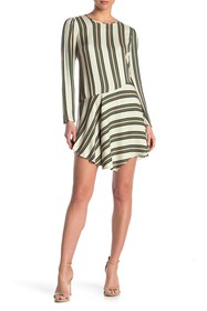BCBGeneration Stripe Print Asymmetrical Hem Dress