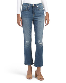 SEVEN7 High Rise Crop Flare Jeans With Destruction