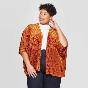 Women's Velvet Kimono - A New Day™ Brown