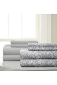 Modern Threads Solid & Floral 8-Piece Grey Sheet S