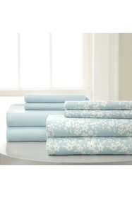 Modern Threads Solid & Floral 8-Piece Aqua Blue Sh