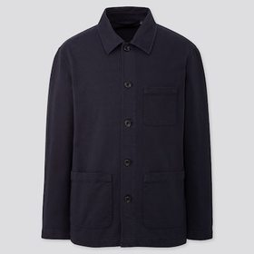 Men Washed Jersey Work Jacket, Navy, Medium