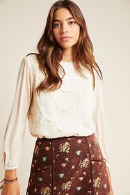 Anthropologie Finja Embroidered Top