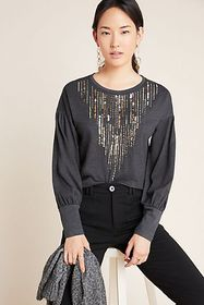 Anthropologie Chiara Sequined Top