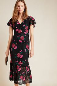 Anthropologie Shoshanna Embroidered Lace Midi Dres