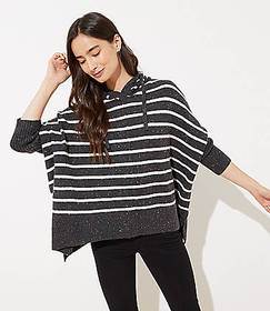 Striped Hooded Poncho Sweater