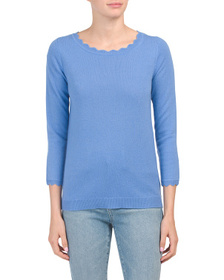 JONES NEW YORK Scallop Trim Scoop Neck Cashmere Sw