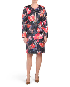 TAHARI BY ASL Floral Jacket And Pencil Skirt Set