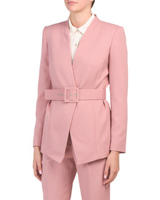 TAHARI BY ASL Collarless Belted Jacket