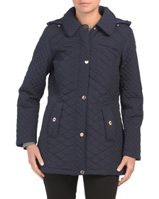 JONES NEW YORK Long Quilted Jacket With Hood