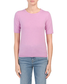 JONES NEW YORK Cashmere Short Sleeve Crew Neck Swe