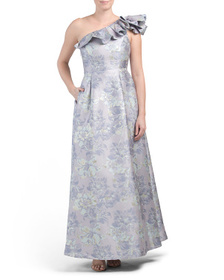 MARINA One Shoulder Jacquard Gown