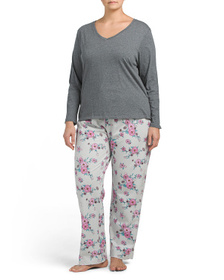 JOE FRESH Plus Sueded V-neck Top And Floral Pants