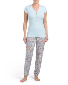 ECHO 2pc Cap Sleeve Henley Tee With Paisley Pant S