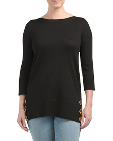 CABLE & GAUGE Boat Neck Tunic Sweater