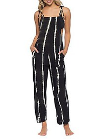 Isabella Rose Bali Tie-Dyed Jumpsuit Coverup BLACK