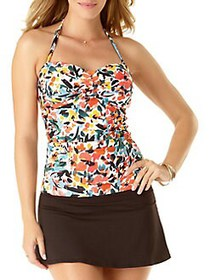 Anne Cole Sunset Floral Twist-Front Tankini Top WH