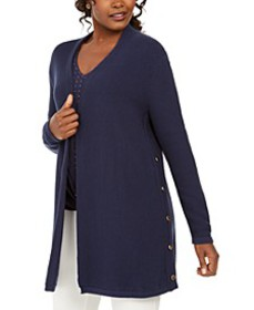 Cotton Side-Button Open-Front Cardigan, Created Fo