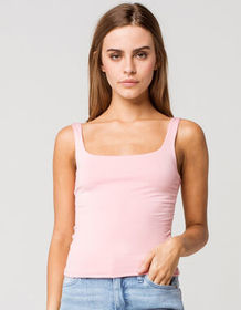 RSQ Square Neck Womens Dusty Pink Tank Top_