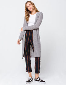MIMI CHICA Textured Knit Drop Shoulder Womens Gray
