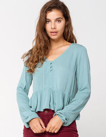 MIMI CHICA Solid Henley Green Womens Babydoll Top_