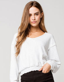 POOF Brushed Smock Womens White Top_