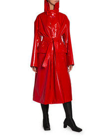 Balenciaga Vinyl High-Neck Belted Trench Coat