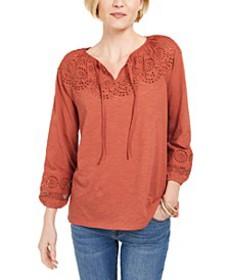 Cotton Eyelet Peasant Top, Created For Macy's