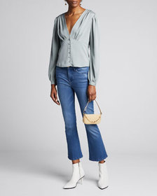 FRAME Empire Pleated Button-Front Top