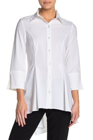 JOSEPH RIBKOFF Slit Sleeve Button Down High/Low Bl