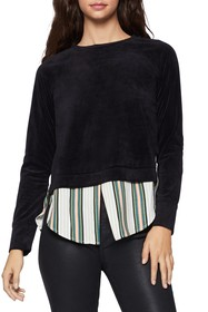 BCBGeneration Velour Sweater Striped Hem Twofer To
