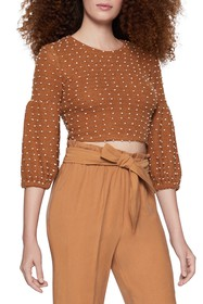 BCBGeneration Polka Dot 3/4 Sleeve Cropped Pullove