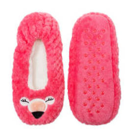 Womens Fuzzy Babba Textured 3D Flamingo Slipper So