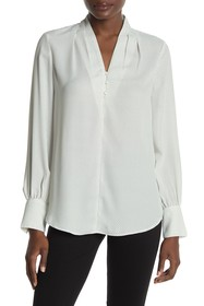 Adrianna Papell Printed Crepe Long Sleeve Button D