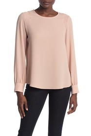 Adrianna Papell Solid Long Sleeve Blouse