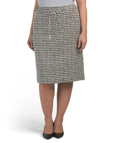 TAHARI BY ASL Plus Belted Boucle Pencil Skirt