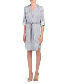 JONES NEW YORK SIGNATURE Button Down Belted Dress