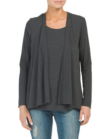 NICOLE MILLER Cardigan & Tank Twofer Top
