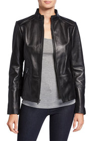 Neiman Marcus Leather Collection Zip-Front Leather