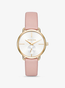 Michael Kors Portia Gold-Tone and Leather Watch