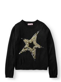 Pink Angel Sequin Star Embellished Pullover Sweate