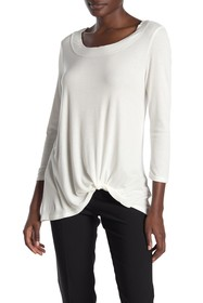 H By Bordeaux Twist Hem 3/4 Sleeve Rib Knit Top