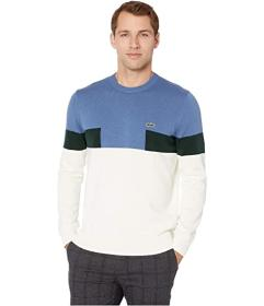Lacoste Long Sleeve Color Block Cotton Sweater
