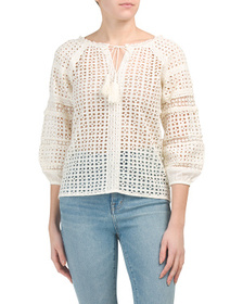 SOLITAIRE Balloon Sleeve Eyelet Top