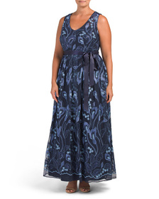 R&M RICHARDS Plus All Over Long Embroidered Lace G